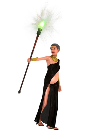 brandishing: Fairy tale evil stepmother with sagging flesh brandishing magical staff
