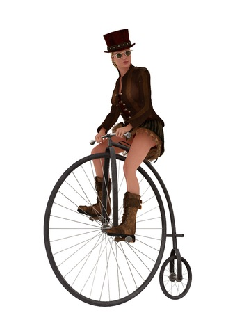 Steampunk female in top hat and short skirt riding penny farthing bike