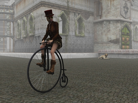Steampunk female in top hat and short skirt riding penny farthing bike on cobbles in fog with dilapidated building