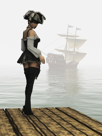 flintlock: Girl in sexy pirate costume complete with hat thigh high boots and holstered flintlock pistol from rear looking backwards as sailing ship moves into the mist