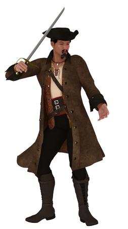 brandishing: Asian pirate figure with goatee wearing hat vest a long coat brandishing sword Stock Photo