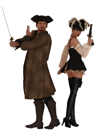 Male and female pirates back to back with weapons ready photo