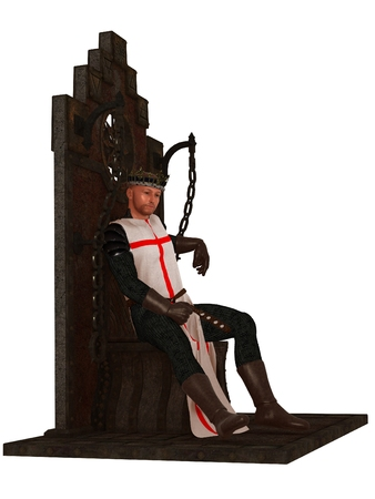 throne: King on throne wearing chain mail tabard and crown fantasy depiction of Richard the lionheart Stock Photo
