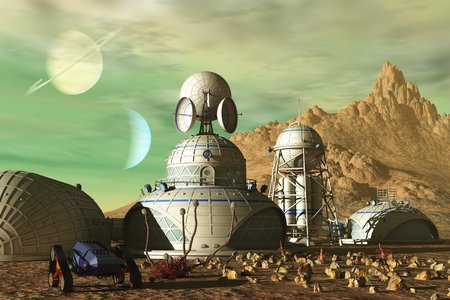 Science fiction base on barren alien planet under green sky Stock Photo