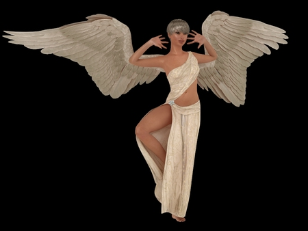 Female angel with outspread wings in long white dress isolated on black