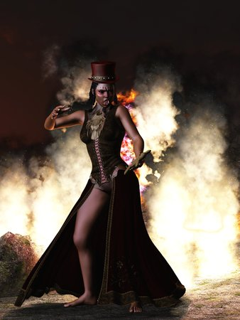 priestess: Voodoo priestess in dreads top hat and primitive makeup holding doll against background of fire and smoke