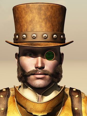 sideburns: Portrait of male in steampunk top hat with long sideburns and green tinted monocle