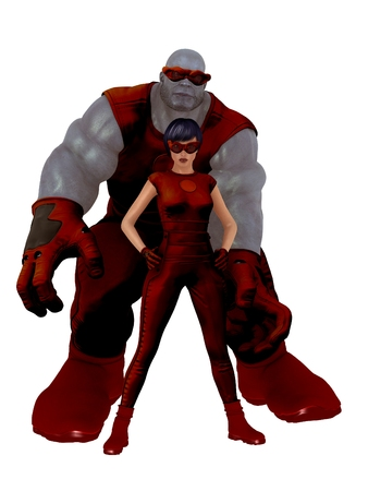 monstrous: Monstrous disproportionally muscled blue skinned male superhero and female partner in matching retro style red costumes and goggles