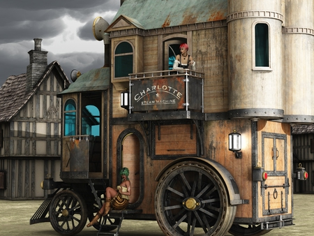 brothel: Fantasy two story steampunk mobile home with scantily clad women on step and balcony