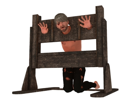 Prisoner with head and hands restrained in pillory isolated on white