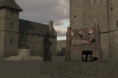 humiliation: Prisoner with head and hands restrained in pillory in castle courtyard with cowled monk in the background