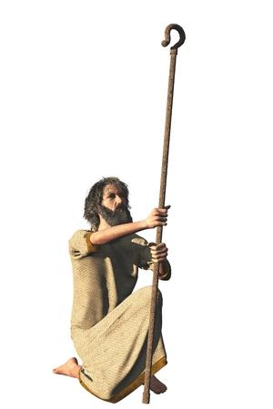 pastorcillo: Aislado figura ermitaño genérico con túnicas de rodillas y sosteniendo cayado de pastor que podrían representar varios personajes bíblicos o santos cristianos