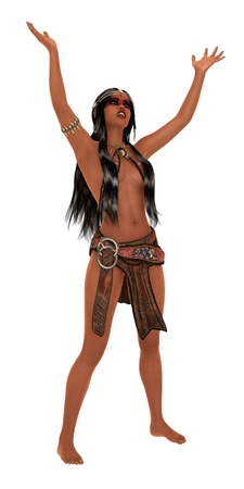 loincloth: Fantasy dark skinned female with raised arms wearing ornate leather loincloth top and headdress