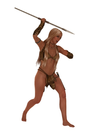 loincloth: Blonde female in fur loincloth and top hunting with stone spear isolated on white