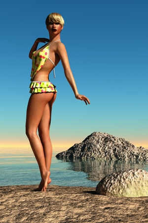 frilled: Tanned woman with short blonde hair wearing yellow polka dot frilled swimsuit posing on beach
