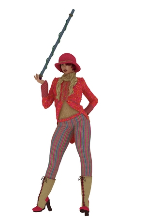 entertainer: Female entertainer in pink jacket with tails bowler hat striped trousers with cane Stock Photo