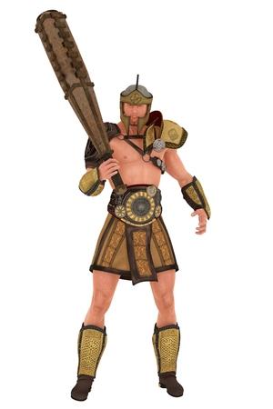 The muscular Greek demigod Hercules in helmet and armour brandishing wooden club photo
