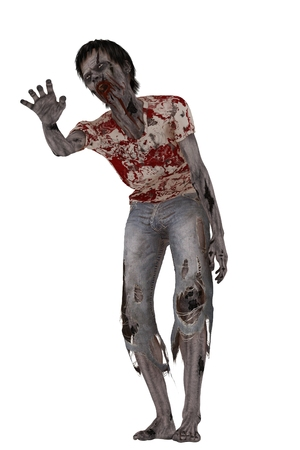 tattered: Skeletal decaying zombie with bloody mouth in tattered stained shirt and jeans isolated on white