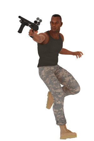 crewcut: Black soldier in vest combats and boots in action pose with pump action shotgun