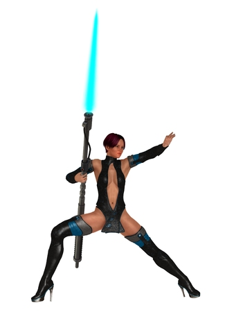 skimpy: Fantasy science fiction woman wearing skimpy latex outfit in action pose holding plasma lance
