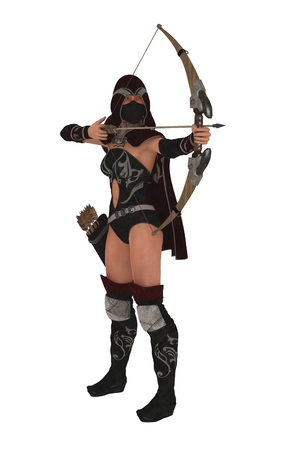 female assassin: Hooded and masked fantasy female assassin archer drawing her bow and taking aim