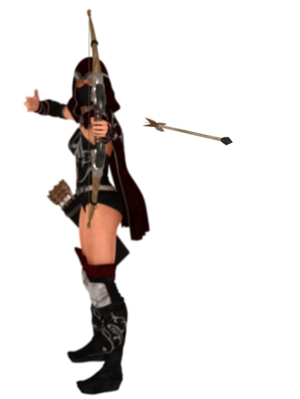 assassin: Hooded and masked fantasy female assassin archer lets loose her arrow shallow DOF with focus on the arrow Stock Photo