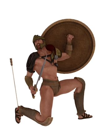 Legendary Grecian warrior wounded by arrow in his heel which is his only vulnerability photo