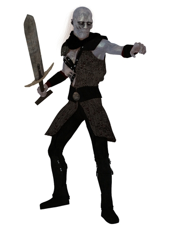 undead: Wrinkled blue skinned orc warrior with sunken chest and wispy white hair wearing chain mail an brandishing sword.