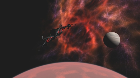 Science fiction attack spacecraft leaving red alien planet for deep space