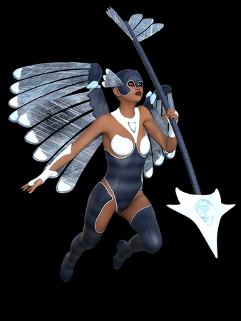 angel 3d: Female angel in blue armor and helmet with wings carrying spear