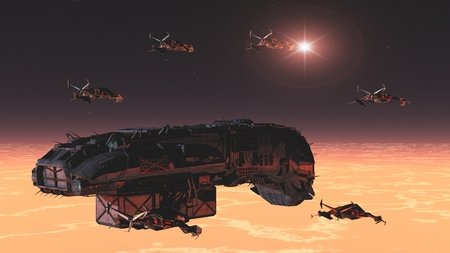 freighter: Science fiction space freighter escorted by squadron of fighters Stock Photo