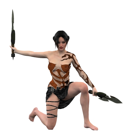 short skirt: Female fighter in short skirt and bronze body and arm armor kneeling with twin knives