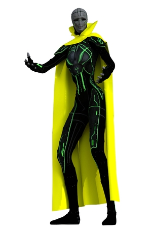 benevolent: Very tall and thin smiling grey skinned female alien in yellow cloak