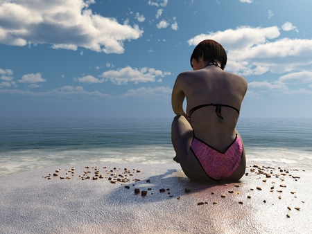 3D render of short haired girl sitting on stony beach looking out to sea from behind Stock Photo
