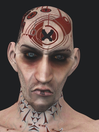surly: Shaven headed and heavily tattooed male with contemptuous expression