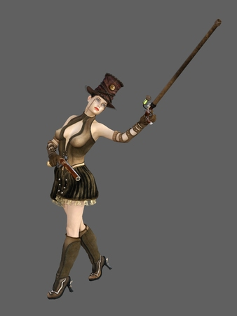 monocle: Steampunk female in ornate top hat with flintlock pistol and cane with monocle