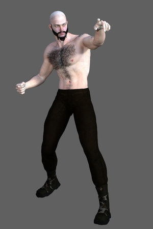 hairy chest: Bald bearded hairy chest bare knuckle street fighter isolated on grey background Stock Photo