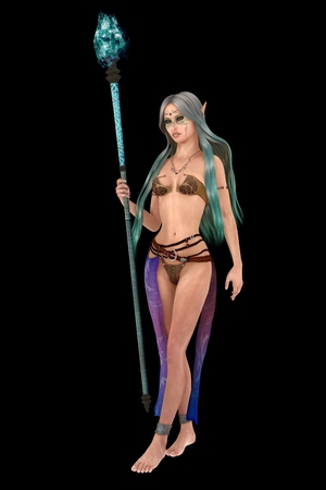 pointed: 3D silver haired female elf isolated on black
