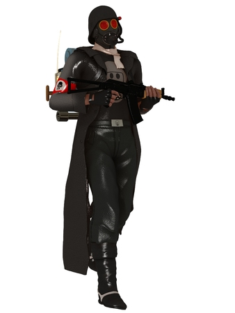 Science fiction soldier in leather and wearing breathing apparatus and goggles carrying automatic weapon