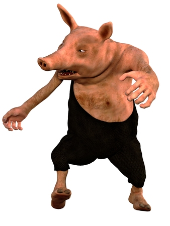 rendered: Digitally rendered angry pig figure in dungarees