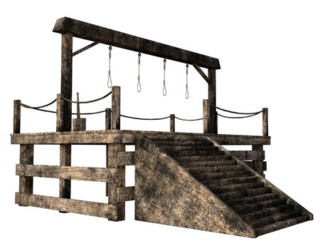 gallows: Wooden gallows with four nooses
