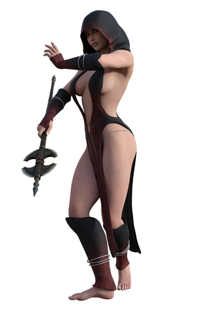 revealing: Fantasy hooded female assassin in revealing dress with twin bladed axe Stock Photo