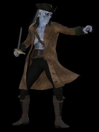 cutlass: Skeletal undead pirate with blue skin and wispy hair brandishing cutlass