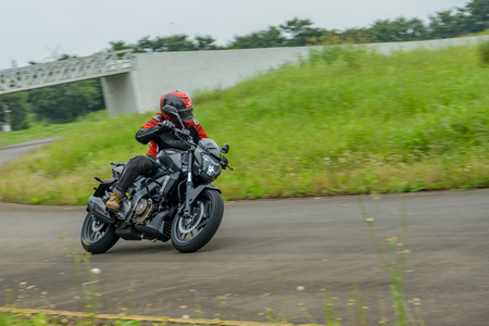 A motorcycle on a test track in India Editorial