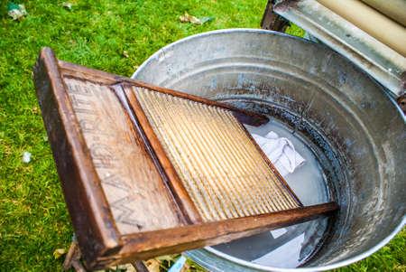 washboard: Antique Washboard, Washtub Stock Photo