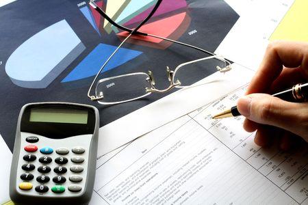 fin d annee: Diff�rents outils financiers. Concept: Fin de l'exercice financier de fermeture.  Banque d'images