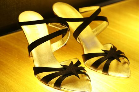 heel strap: A pair of high heel shoes for women. Stock Photo