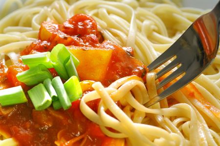 bolognese: Plate of spaghetti with tomato sauce. Stock Photo