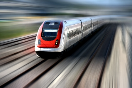 Fast train with motion blur. photo