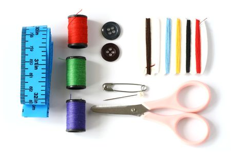 sewing kit: Neatly arranged sewing kit.